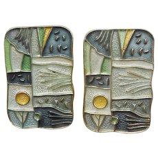 "David-Andersen ""Winter"" Four Seasons Clip Earrings - Sterling Silver and Enamel"