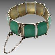 David-Andersen D-A 12 Panel Cuff Bracelet – Sterling Silver and Green Guilloche Enamel