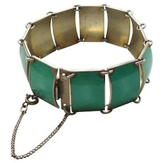 David-Andersen D-A 12 Panel Cuff Bracelet – Sterling Silver and Green Guilloche Enamel