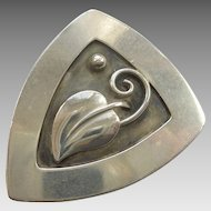 Laurence Foss Arts & Crafts Mid-century Sterling Silver #450 Leaf and Berry Pin
