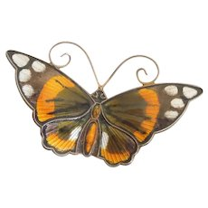 Large Monarch Butterfly Pin by David Andersen Norway - Sterling Silver and Enamel - Insect, Bug