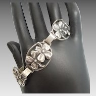 """Sterling Silver Clover Floral 5-Link Bracelet - 7 3/8"""" Long - 'Good Luck'"""