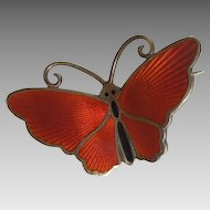 Butterfly Pin by David Andersen Norway - Sterling Silver and Red Guilloche Enamel - Insect, Bug