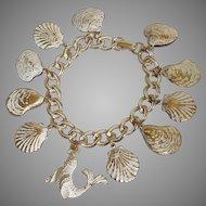 Goldtone Sea Shell and Seal Charm Bracelet - Summer Beach Fun