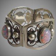 Far Fan Mexico Sterling Silver and Glass Opal Four-panel FARFAN Bracelet