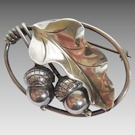 Georg Jensen Inc USA #105 Sterling Silver Acorn and Oak Leaf Hand Wrought Pin