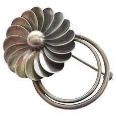 Georg Jensen Inc USA #103 Sterling Silver Floral Hand Wrought Pin - Alphonse LaPaglia