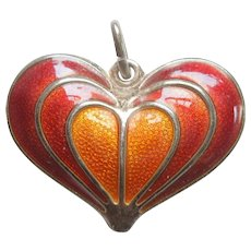 David-Andersen Sterling Silver Heart Pendant / Charm with Red and Orange Guilloche Enamel
