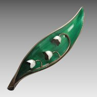 Arne Nordlie Scandinavian Lily of the Valley Flower Pin - Sterling Silver and Green Enamel