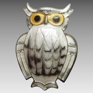 David Andersen Sterling Silver and White and Black Enamel Owl Pin with Yellow Eyes - Norway