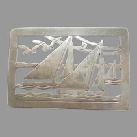 Hand-wrought Sterling Silver Sailboats / Sailing / Regatta Pin - Arts and Crafts - Stavre Gregor Panis SGP