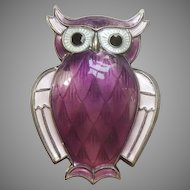 David Andersen Sterling Silver and Purple Guilloche Enamel Owl Pin - Norway