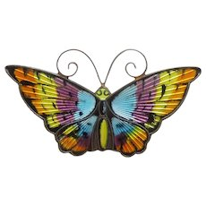 Large Multi-colored Butterfly Pin by David Andersen Norway - Sterling Silver and Enamel - Insect, Bug