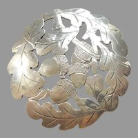 Hand-wrought Acorns and Oak Leaves Sterling Silver Pin / Pendant - Fall, Autumn - Arts and Crafts Gladys and Stavre Gregor Panis SGP