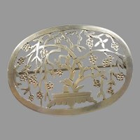 Hand-wrought BONSAI TREE / FLORAL Sterling Silver Pin - Arts and Crafts - Stavre Gregor Panis SGP
