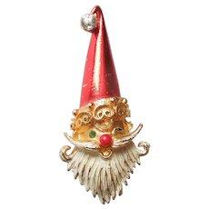 MYLU Winking Santa Claus Christmas Pin with Rhinestone Tassel