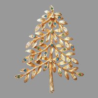 MYLU Leafy Christmas Tree Pin with Blue, Green, and Clear Rhinestones