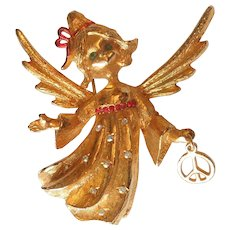 MYLU Christmas ANGEL Pin with Red and Aurora Borealis Rhinestones