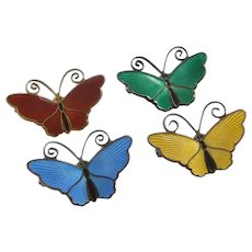 Butterfly Perfection - David Andersen Norway - Set of Four Small C-clasp Sterling Silver and Enamel Pins