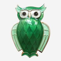 David Andersen Sterling Silver and Green Guilloche Enamel Owl Pin - Norway