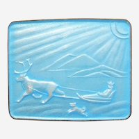 N.M. Thune Norway Reindeer Pulling Sled, Running Dog Winter Scene - Blue Enamel and Sterling Silver Pin