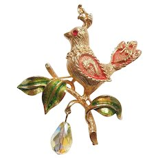 MYLU Christmas Pin – Partridge in a Pear Tree with Dangle Crystal Bead