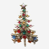Sparkly Hollycraft Christmas Tree Pin with Rhinestone Candles and Decorations