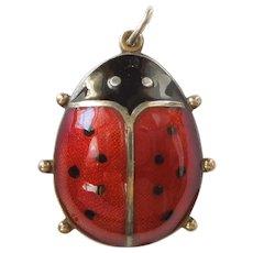 David-Andersen Sterling Silver Guilloche Enamel Ladybug Large Charm / Pendant