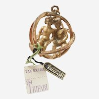 Gemini, The Twins,  Trifari 3D Zodiac Astrology Charm / Pendant / Orb / Sphere - with Tags