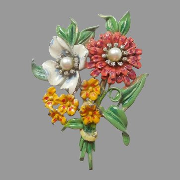 Large Pot Metal Flower Pin - 1930s / 1940s Floral Brooch with Painted Enamel / Rhinestones / Faux Pearls