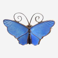 D-A David Andersen Norway - Small Butterfly Pin - Blue Enamel and Sterling Silver with C-clasp