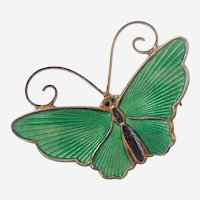 D-A David Andersen Norway - Small Butterfly Pin - GREEN Enamel and Sterling Silver