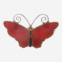 D-A David Andersen Norway - Small Butterfly Pin - RED Enamel and Sterling Silver