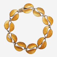 David-Andersen D-A Double-Leaf Bracelet – Sterling Silver and Golden Yellow Guilloche Enamel
