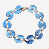 David-Andersen D-A Double-Leaf Bracelet – Sterling Silver and Blue Guilloche Enamel