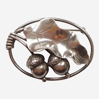 Georg Jensen Inc USA #105 Sterling Silver Acorn and Oak Leaf Pin - Alphonse LaPaglia - Acorns
