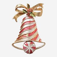 MYLU Candycane-Striped Christmas Bell Pin with Peppermint Clapper