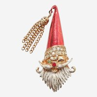 MYLU Winking Santa Claus Christmas Pin with Chain Tassel