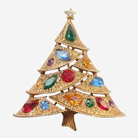 J.J. Zigzag Christmas Tree Pin with Sparkling Rhinestone Decorations - JJ / Jonette Jewelry Company