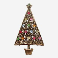 Hollycraft Lattice Christmas Tree Pin with Rhinestones