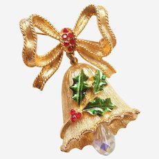 MYLU Christmas Dangle Bell Pin with Crystal Clapper, Holly Leaves and Berries