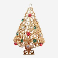 MYLU Lacy Flowers Floral Filigree Christmas Tree Pin with Sparkling Rhinestones
