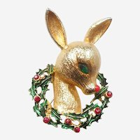 MYLU Baby Rudolph Red-nosed Reindeer in Holly Wreath Christmas Pin