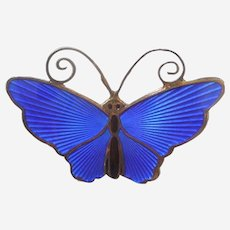 D-A David Andersen Norway - Small Butterfly Pin - COBALT BLUE Enamel and Sterling Silver