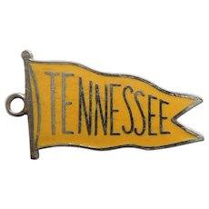 TENNESSEE State Sterling Silver and Yellow Enamel Pennant / Flag Charm