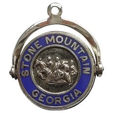 Sterling Silver 'Stone Mountain Georgia' Blue Enamel Spinner Charm - Fort Sterling - Civil War Confederate Memorial
