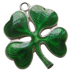 Sterling Silver and Guilloche Enamel Lucky Four Leaf Clover - Wells