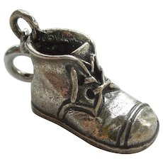 Danecraft Baby Shoe Bootie Sterling Silver Charm - Engraved 'James'
