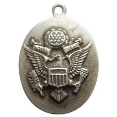 Military United States Army Sterling Silver Charm with Great Seal of US and Field Artillery / Crossed Field Guns Insignia