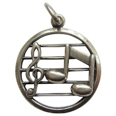 Beau Sterling Silver Music Lover Charm - Musical Symbols - Staff, Treble Clef, Single Bar Note
